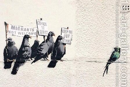 Immigration mural by Banksy - Reproduction Oil Painting