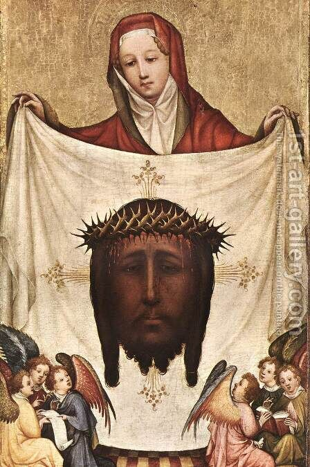St. Veronica with the Holy Kerchief c. 1420 by Master of Saint Veronica - Reproduction Oil Painting
