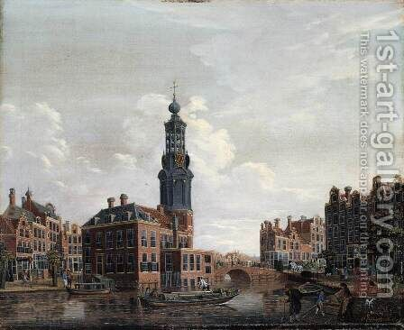 View of the Singel with the Munttoren in Amsterdam 1770s by Isaak Ouwater - Reproduction Oil Painting