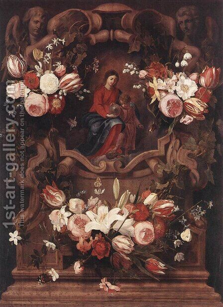 Floral Wreath with Madonna and Child by Daniel Seghers - Reproduction Oil Painting