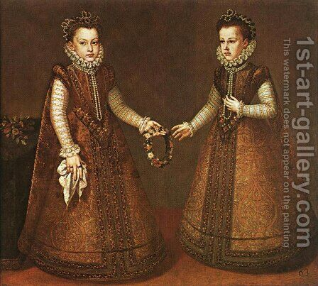 Infantas Isabel Clara Eugenia and Catalina Micaela c. 1571 by Alonso Sanchez Coello - Reproduction Oil Painting