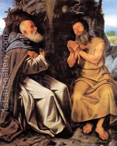 St Anthony Abbot and St Paul c. 1510 by Giovanni Girolamo Savoldo - Reproduction Oil Painting
