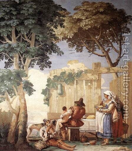 Family Meal 1757 by Giovanni Domenico Tiepolo - Reproduction Oil Painting