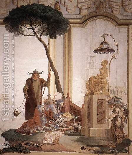 Offering Of Fruits To Moon Goddess 1757 by Giovanni Domenico Tiepolo - Reproduction Oil Painting