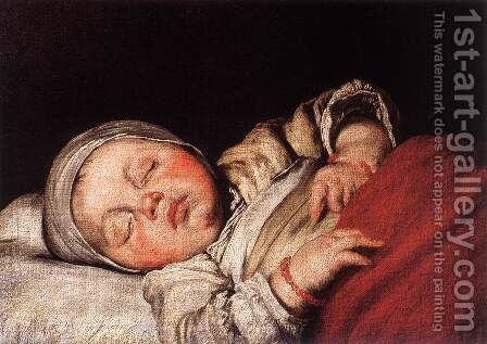 Sleeping Child by Bernardo Strozzi - Reproduction Oil Painting