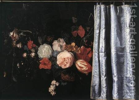 Flower Still-Life with Curtain 1658 by Adrian Van Der Spelt - Reproduction Oil Painting