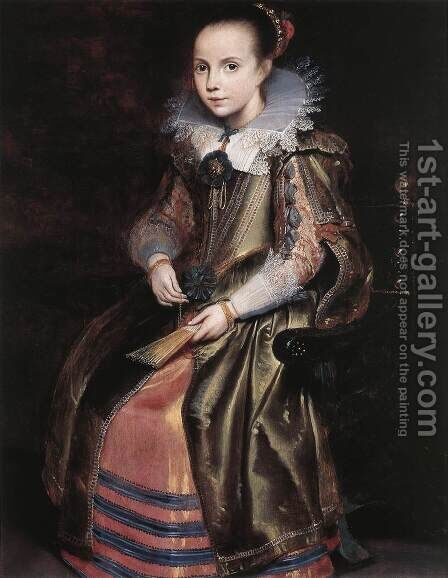 Elisabeth (or Cornelia) Vekemans as a Young Girl c. 1625 by Cornelis De Vos - Reproduction Oil Painting