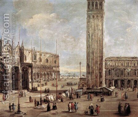 View of the Piazza San Marco from the Procuratie Vecchie 1720 by Antonio Stom - Reproduction Oil Painting