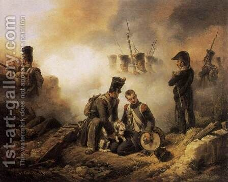 The Dog of the Regiment Wounded 1819 by Horace Vernet - Reproduction Oil Painting