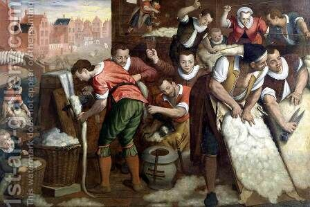The Removal Of The Wool From The Skins And The Combing  1595 by Isaac Claesz. Van Swanenburg - Reproduction Oil Painting