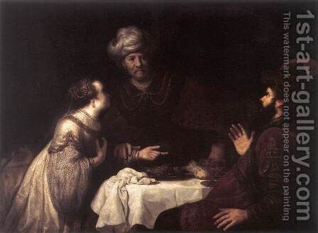 Esther and Haman before Ahasuerus 1638-40 by Jan Victors - Reproduction Oil Painting