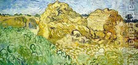 Field With Wheat Stacks by Vincent Van Gogh - Reproduction Oil Painting