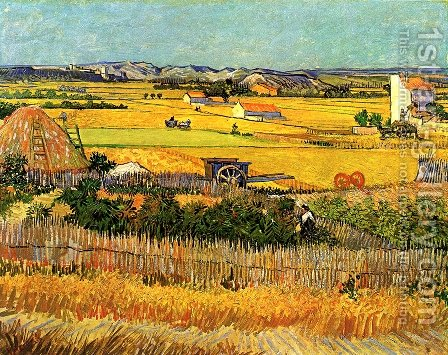 Harvest At La Crau With Montmajour In The Background by Vincent Van Gogh - Reproduction Oil Painting