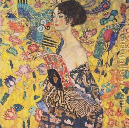 Lady With Fan by Gustav Klimt - Reproduction Oil Painting