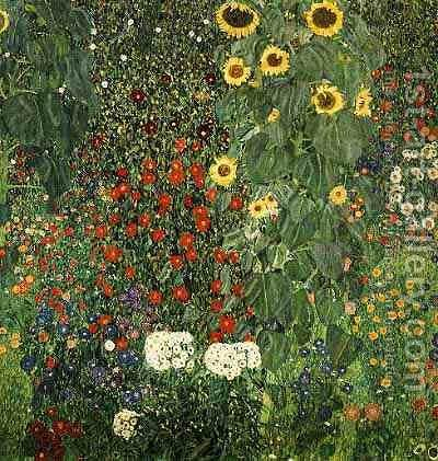 Farmergarden With Sunflower by Gustav Klimt - Reproduction Oil Painting