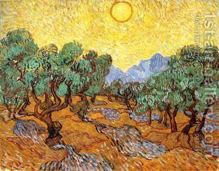 Olive Trees With Yellow Sky And Sun by Vincent Van Gogh - Reproduction Oil Painting