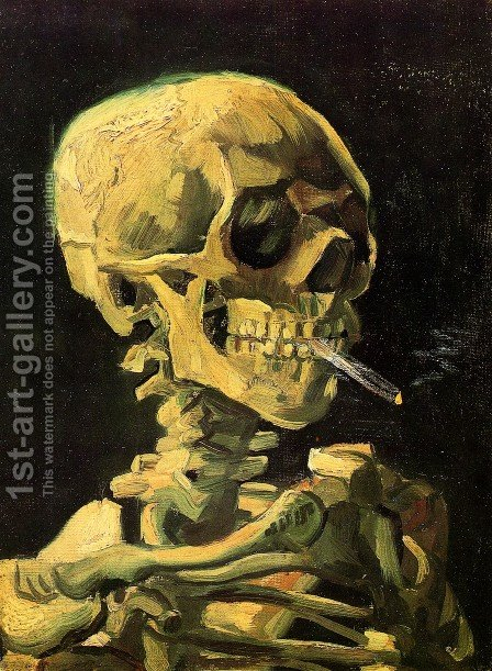 Skull With Burning Cigarette by Vincent Van Gogh - Reproduction Oil Painting