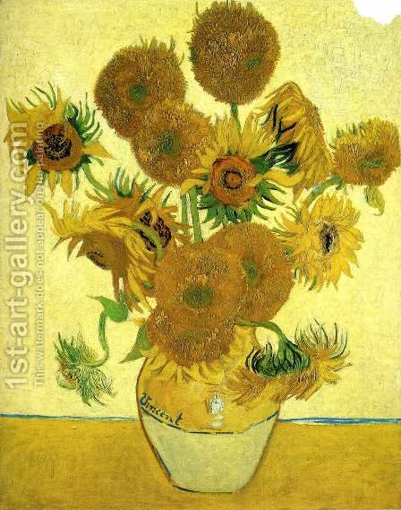 Vase With Fifteen Sunflowers by Vincent Van Gogh - Reproduction Oil Painting