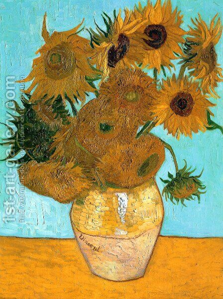 Vase With Twelve Sunflowers by Vincent Van Gogh - Reproduction Oil Painting