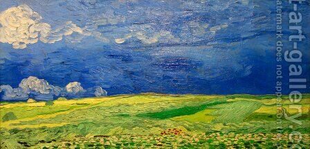 Wheat Field Under Clouded Sky by Vincent Van Gogh - Reproduction Oil Painting