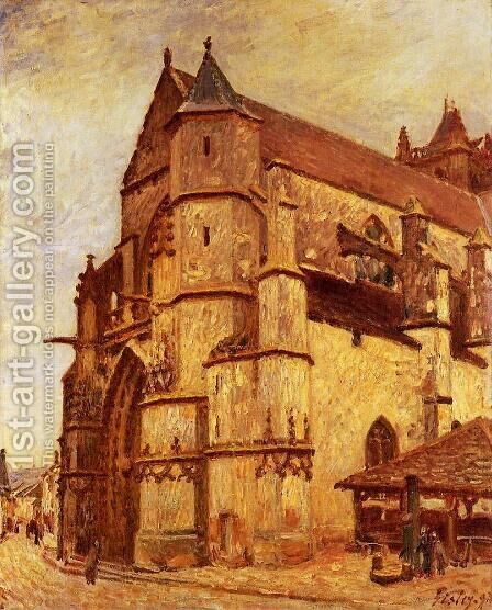 The Church At Moret Winter by Alfred Sisley - Reproduction Oil Painting