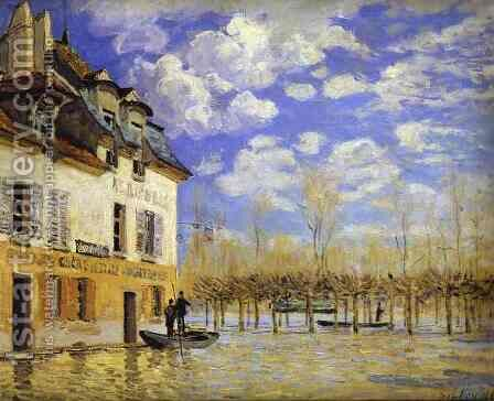 Boat During a Flood 1871 by Alfred Sisley - Reproduction Oil Painting