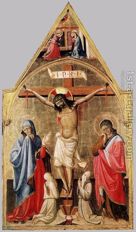 Crucifixion With Mary And St John The Evangelist 1400-50 by Andrea Bonaiuti da Da Firenze - Reproduction Oil Painting