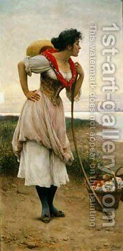 Eugene De Fruit Vendor by Blaas Eugen De - Reproduction Oil Painting