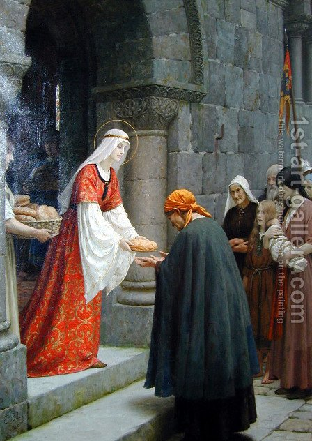 Leighton Edward Blair Charity Of St. Elizabeth Of Hungary by Blair-leighton Edmund - Reproduction Oil Painting