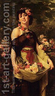 Clarence Rodolphe The Flower Girl by Boulanger Gustave - Reproduction Oil Painting