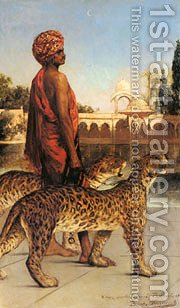 Benjamin The Palace Guard With Two Leopards by Constant Benjamin Jean Joseph - Reproduction Oil Painting