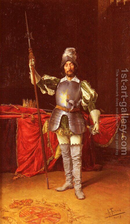 Keeping Guard by Antonio Maria Fabres Y Costa - Reproduction Oil Painting