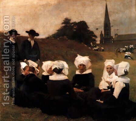 Dagnan Breton Women At A Pardon by Dagnan-bouveret Pascal - Reproduction Oil Painting
