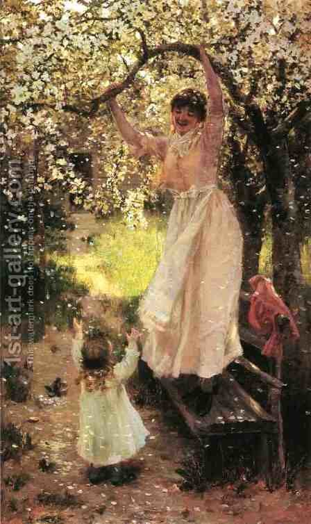 Falling Apple Blossoms by Hamilton Hamilton - Reproduction Oil Painting