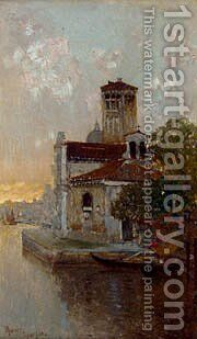 A Venetian Canal At Dusk by Herrer Cesar - Reproduction Oil Painting