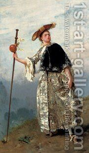 Jean On The Hilltop by Jacquet Gustave - Reproduction Oil Painting