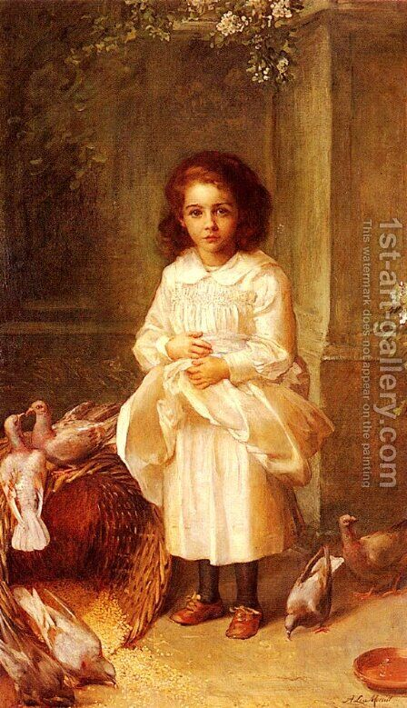 Portrait Of Miss Ethel D Arcy Aged 6 by Anna Lea Merritt - Reproduction Oil Painting