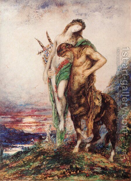 The Dead Poet Borne By A Centaur by Gustave Moreau - Reproduction Oil Painting