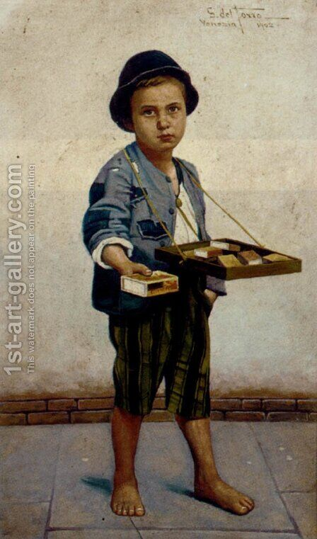 The Little Match Seller by Giulio Del Torre - Reproduction Oil Painting