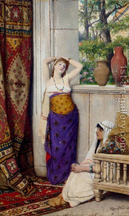 Contemplation In The Harem by Albrecht Frans Lieven Vriendt - Reproduction Oil Painting