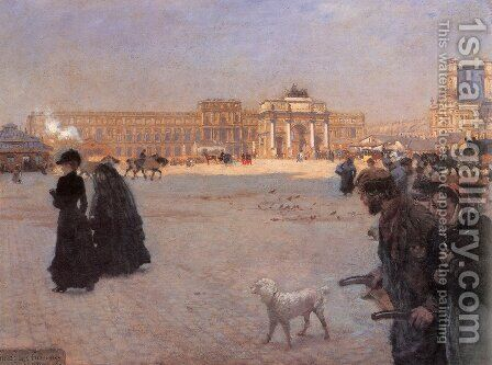The Place De Carrousel And The Ruins Of The Tuileries Palace In 1882 by Giuseppe de Nittis - Reproduction Oil Painting
