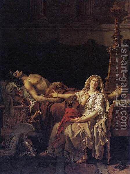 Andromache Mourning Hector 1783 by Jacques Louis David - Reproduction Oil Painting
