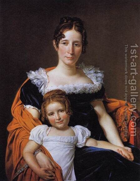 Portrait of the Comtesse Vilain XIIII and her Daughter 1816 by Jacques Louis David - Reproduction Oil Painting
