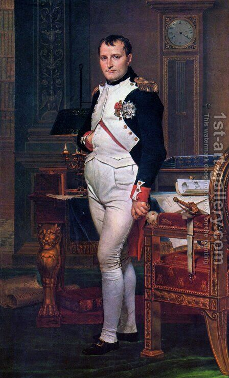 Napoleon in his Study 1812 by Jacques Louis David - Reproduction Oil Painting
