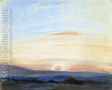 Study of Sky- Setting Sun c. 1849 by Eugene Delacroix - Reproduction Oil Painting