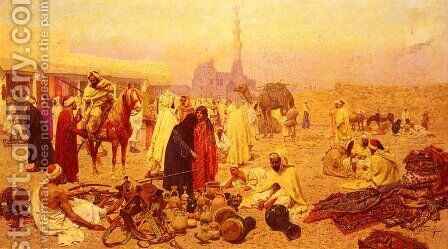 An Arabian Market by Giulio Rosati - Reproduction Oil Painting