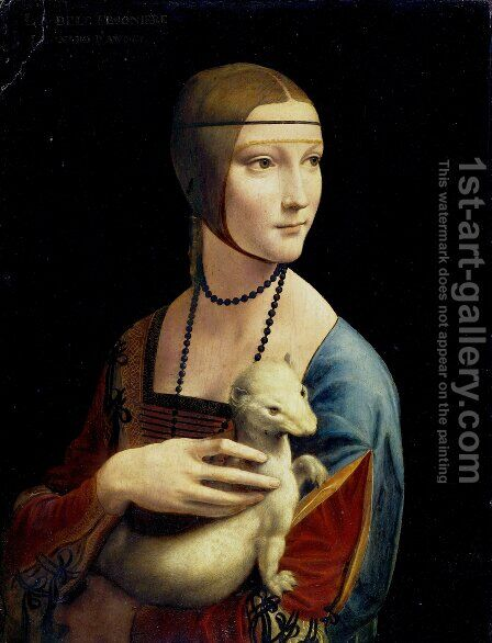Portrait of Cecilia Gallerani (Lady with an Ermine) 1483-90 by Leonardo Da Vinci - Reproduction Oil Painting