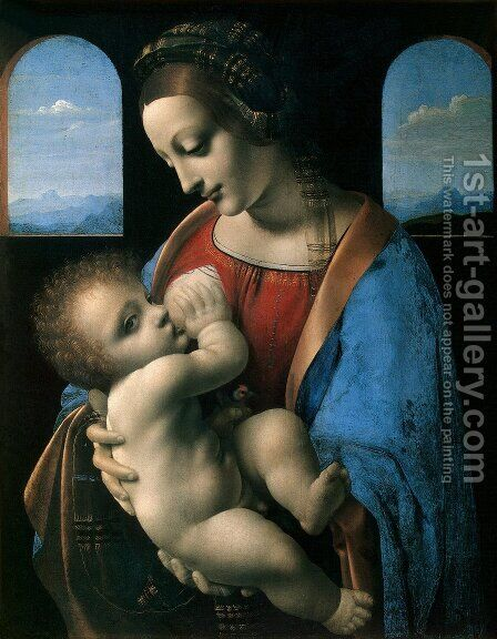 Madonna Litta c. 1490-91 by Leonardo Da Vinci - Reproduction Oil Painting