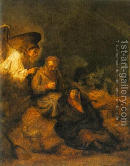 The Dream of St Joseph 1650-55 by Rembrandt - Reproduction Oil Painting