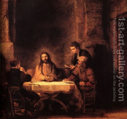 Supper at Emmaus 1648 by Rembrandt - Reproduction Oil Painting